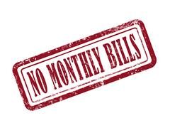 Stamp no monthly bills in red Stock Illustration