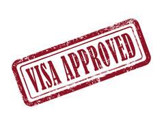 stamp visa approved in red - stock illustration