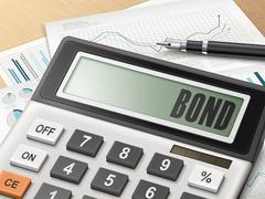 Calculator with the word bond Stock Illustration