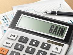 Stock Illustration of calculator with the word gain