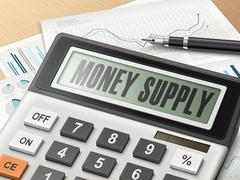 calculator with the word money supply - stock illustration