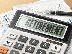 calculator with the word retirement - stock illustration
