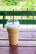 Iced coffee on a wooden table (Iced Cappuccino) Stock Photos