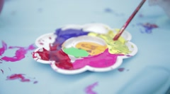 Kids Painting and Drawing with Acrylic colors Stock Footage