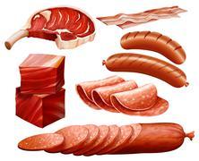 Beef set - stock illustration