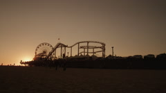 Santa Monica Pier Sunset 1 Stock Footage