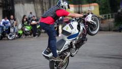 Moto bike tricks, bikers perfomance Stock Footage