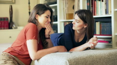 Friends sitting at home and chatting together Stock Footage