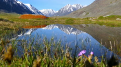 mountain landscape with lake in Altay, Russia - stock footage