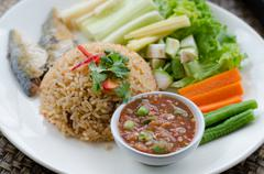 Rice Mixed with Shrimp paste Served with Mixed Vegetable Stock Photos