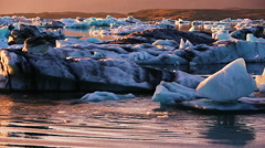 Global Warming Climate Change Concept. Icebergs in Glacier Lagoon. - stock footage