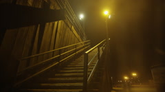 Beach Pier Steps Night 1 Stock Footage