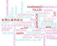 Lingerie multilanguage wordcloud background concept Stock Illustration
