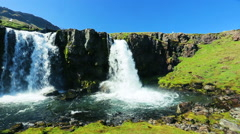 Big Powerful Waterfall with Lots of Water Spray. Stock Footage