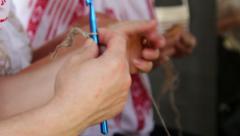 Women who do needlework Stock Footage