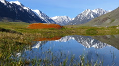 Mountain landscape with lake in Altay, zoom in Stock Footage