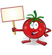 fun tomato cartoon with signboard - stock illustration