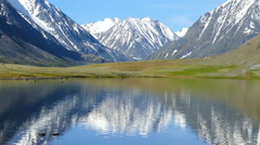 Stock Video Footage of mountain landscape with lake in Altay, zoom in