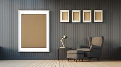 Gray armchair and frame - stock illustration
