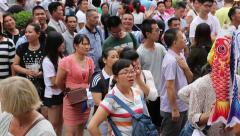 People before visiting the popular pageant in Beijing, China - stock footage