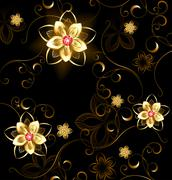 Jewelry pattern on a brown background Stock Illustration
