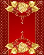 Jewelry design with a gold rose Stock Illustration
