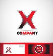 Letter X red logo metal games Stock Illustration
