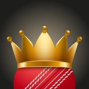 Cricket ball with royal crown - stock illustration
