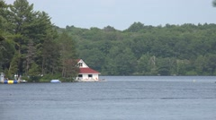 Boathouse With Red Roof Stock Footage