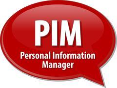 Stock Illustration of PIM acronym definition speech bubble illustration