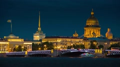 Night of Opening Palace bridge in St. Petersburg Stock Footage