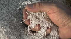 Unprocessed rice being poured from a man's hands Stock Footage