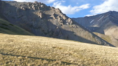 Panorama of mountains peaks and valley Stock Footage