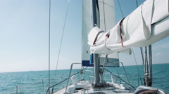 Sailboat into water Stock Footage