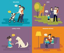 Family with children concept flat icons set Stock Illustration