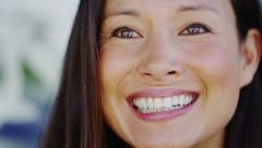Close up of attractive woman talking with a cheerful and expressive face Stock Footage