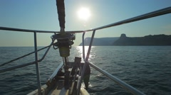 Sailing Yacht On The Race Stock Footage