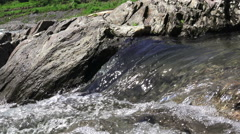 Close Up River Water Flowing Over Rocks And Stones 03 Stock Footage