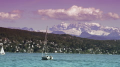 Motorboat on lake Zurich Stock Footage