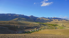 Timelapse with nomadic yurt camp in Altay Stock Footage