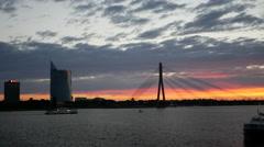 Sunset time lapse from Vanšu Bridge in Riga Latvia Stock Footage