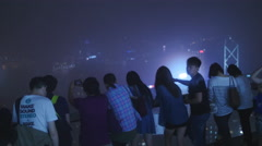 Excited tourists take in HK views from the Peak 4K Stock Footage
