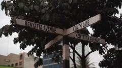 Kenyatta Avenue Kimathi Lane corner, Nairobi, Kenya, Africa, close up Stock Footage