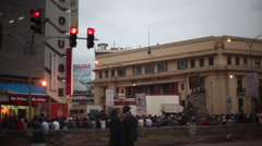 Crowd of people next to Kenya National Archives, Nairobi, Africa Stock Footage