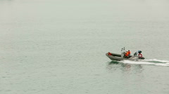 SEVASTOPOL, REPUBLIC OF CRIMEA - MAY 9, 2014: Rescue boat sailing in the sea Stock Footage