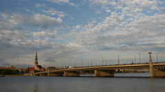 Stone Bridge and Daugava river Stock Footage