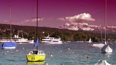 Two ships meet on lake Zurich Stock Footage