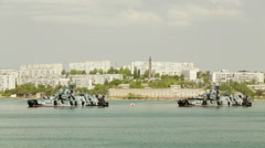 SEVASTOPOL, REPUBLIC OF CRIMEA - MAY 9, 2014: Two warships of the Russian navy Stock Footage