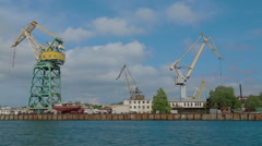SEVASTOPOL, REPUBLIC OF CRIMEA - MAY 9, 2014: The floating cranes standing Stock Footage