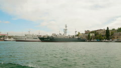 SEVASTOPOL, REPUBLIC OF CRIMEA - MAY 9, 2014: The ships of the Russian navy Stock Footage